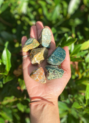 "Ocean Jasper Tumbled Stone About an 1"" across / Small Polished Jasper Crystal / Natural Supportive Nurturing Crystal"