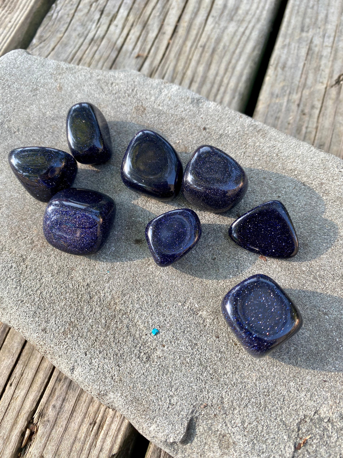 Blue Goldstone Tumbled Stone / polished stone / Sparkling Stone / Crystal for Abundance and Prosperity