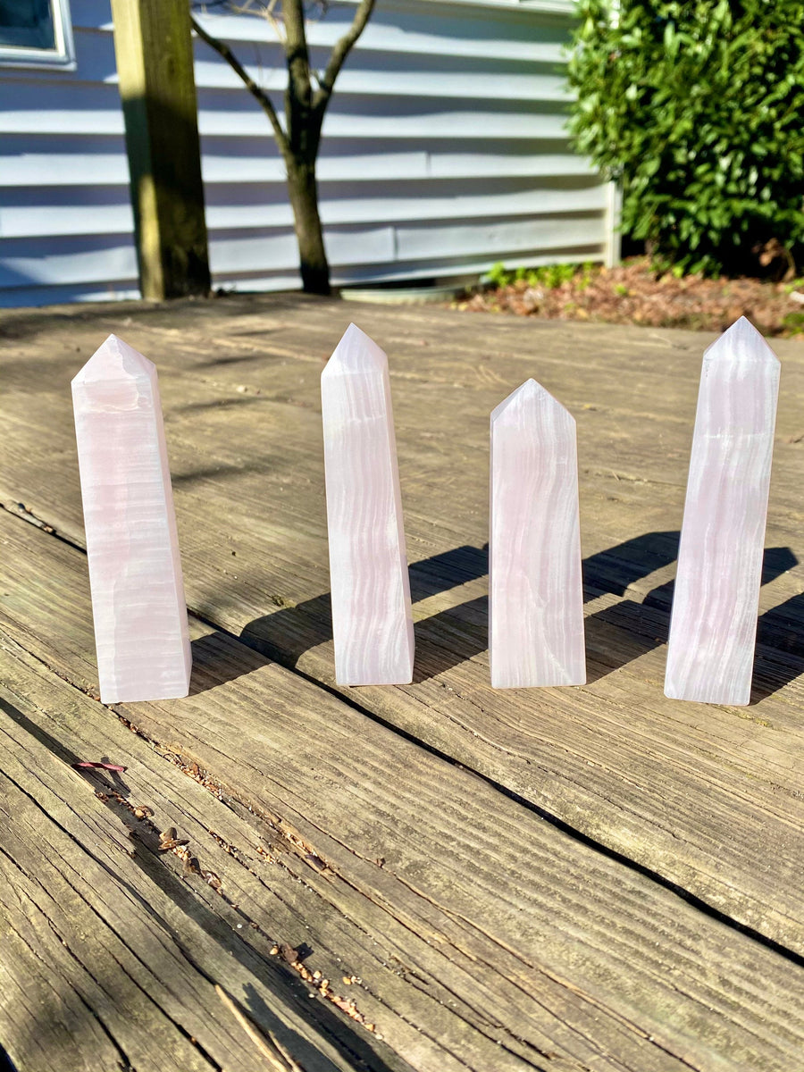 High Quality Banded Pink Calcite Obelisk Tower