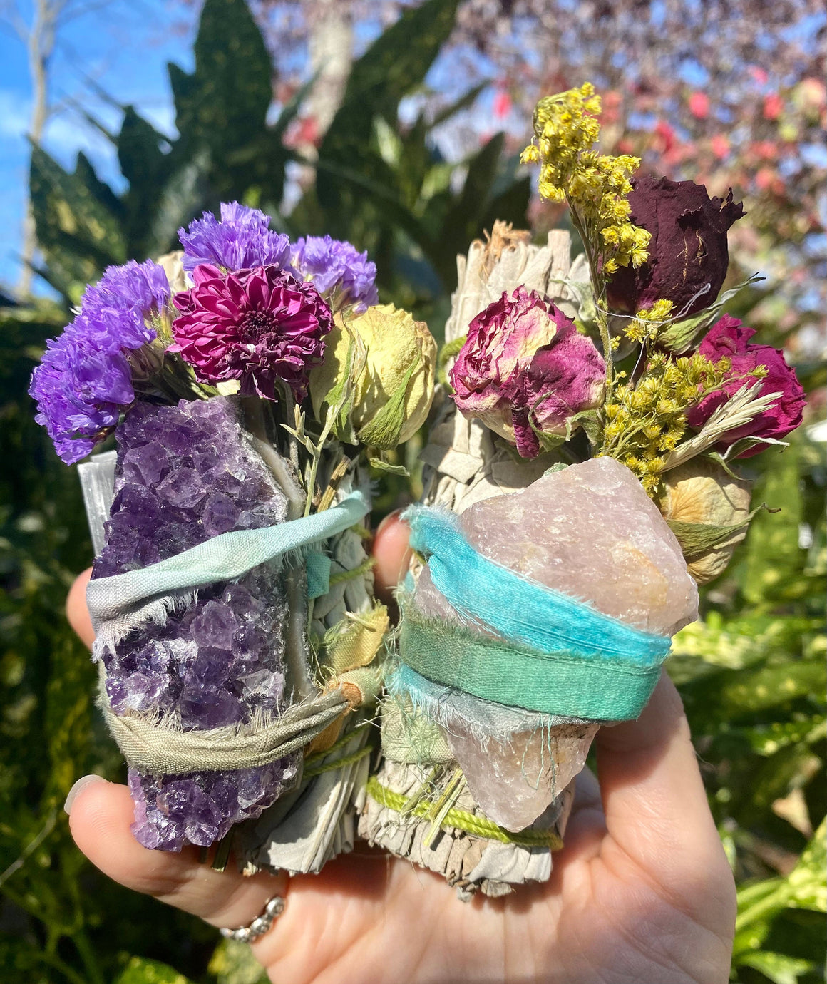 Wildflower sage bundles with crystals bound by dyed cloth