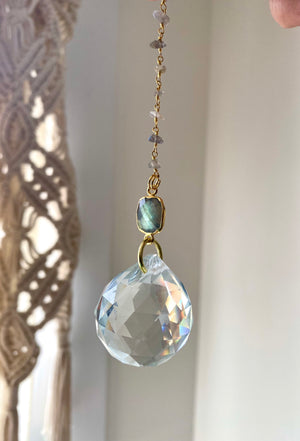 "Handmade Suncatcher with 12"" crystal chain and Pendant"