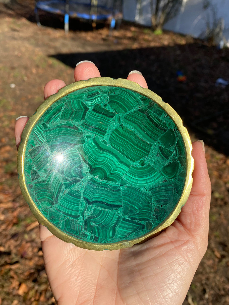 "Natural Malachite Polished Crystal Bowl  Crystal with a Gold Border / 3.5"" across"