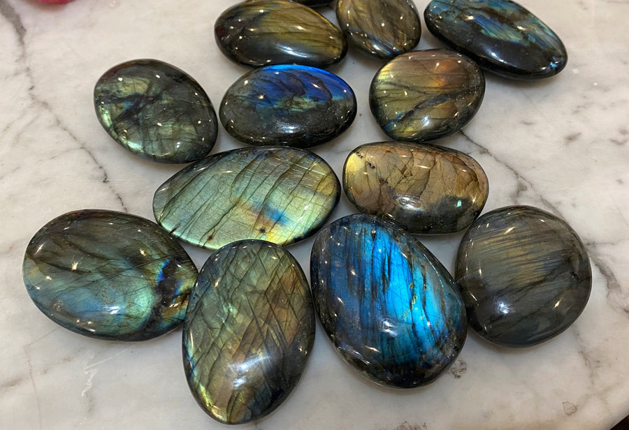 Flashy Labradorite Palm Stone about 2 inches long