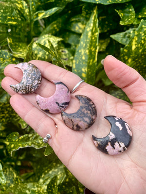 "Small Rhodonite Natural Moon Shaped Stone / about 1"" across/ polished crystal / Heart Chakra stone"