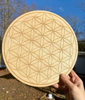 Sacred Engraved Wood Crystal Grids / Metatrons Cube / Flower of Life / Seed of Life