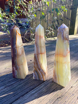 "High Quality Banded Onyx Obelisk/ Size 8""x2"""