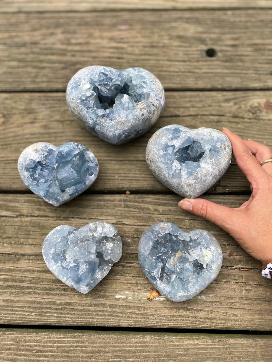 Druzy Celestite Heart Shaped  Cluster Geode