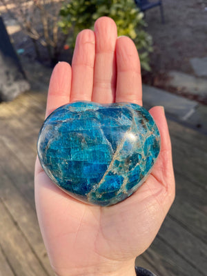 Large Blue Apatite Heart / Natural Heart Shaped Polished Stone - Supports  Ambition Health and Inspiration