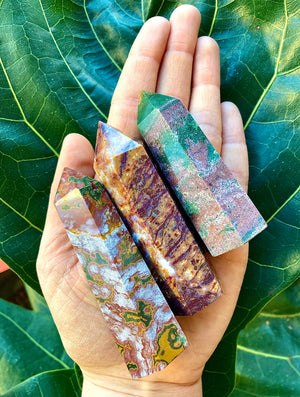 Natural Ocean Jasper Tower/  Supportive Nurturing Crystal