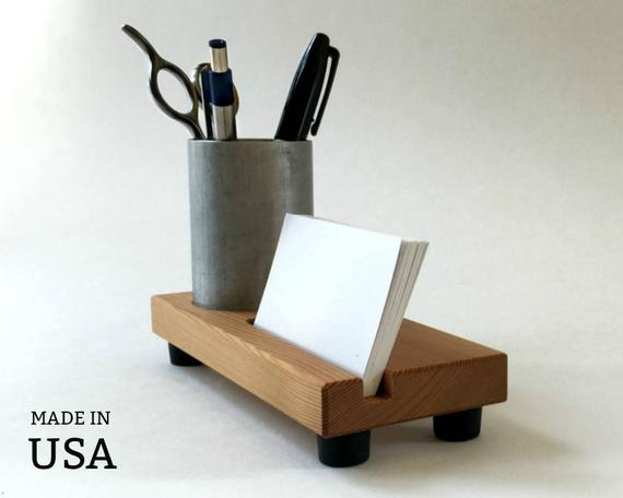 Pencil Cup Business Card Holder by andrewsreclaimed