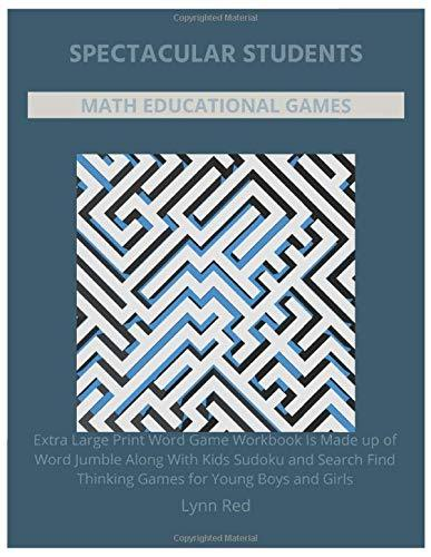 Spectacular Students Math Educational Games: Extra Large Print Word Game Workbook Is Made