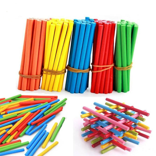 100pcs Colorful Bamboo Counting Sticks