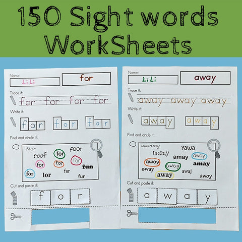 150 Sight Words DIY Wooksheet