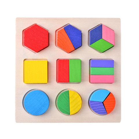 Wooden Geometric Shapes Puzzle Sorting Math
