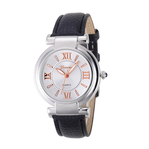 Geneva Women's Leather Wristwatch