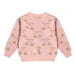 Powder Pink Cherry Print Pullover Baby Sweater