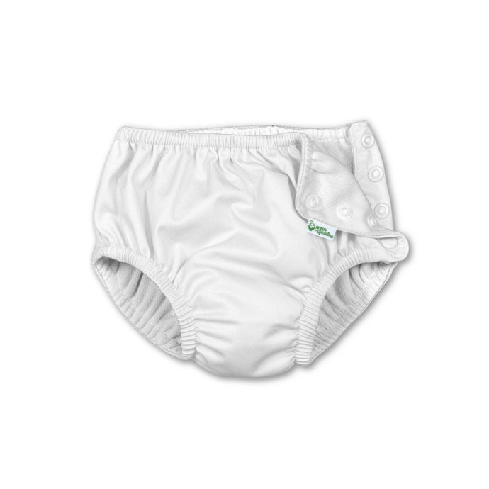 White Snap Reusable Absorbent Swim Diaper