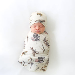 Posh Peanut Swaddle and Beanie Set in Vintage Dino