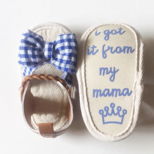 Load image into Gallery viewer, Plaid Bowtie Baby Sandal in Blue