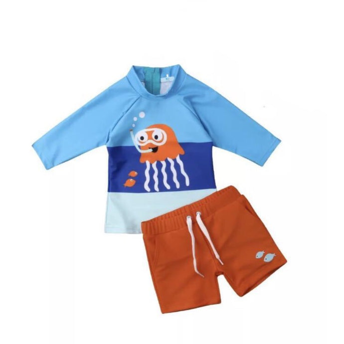 Long Sleeve Octopus Baby Swimsuit Set