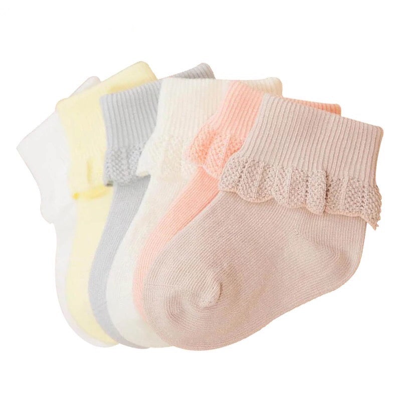 6-Pack Cuffed Baby Socks with Crochet Detail