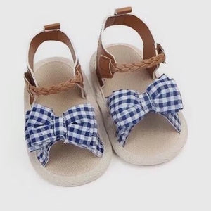 Plaid Bowtie Baby Sandal in Blue