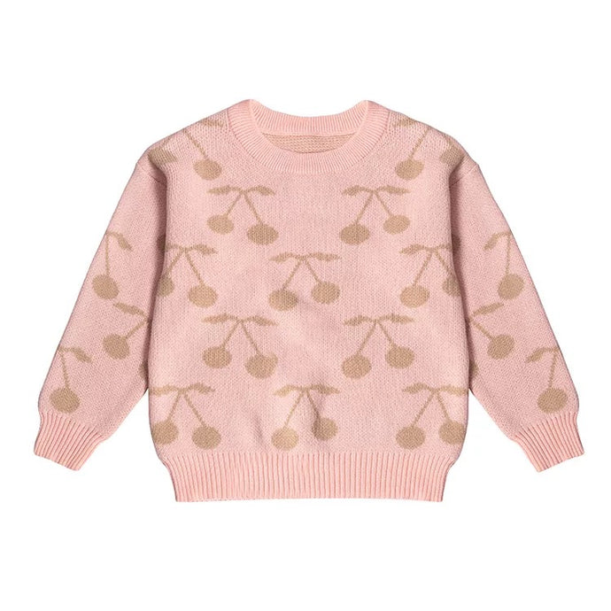 Powder Pink Cherry Print Pullover Sweater