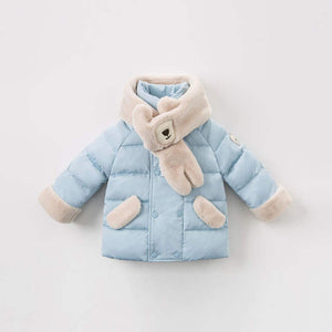 Light Blue Down Jacket With Bear Scarf