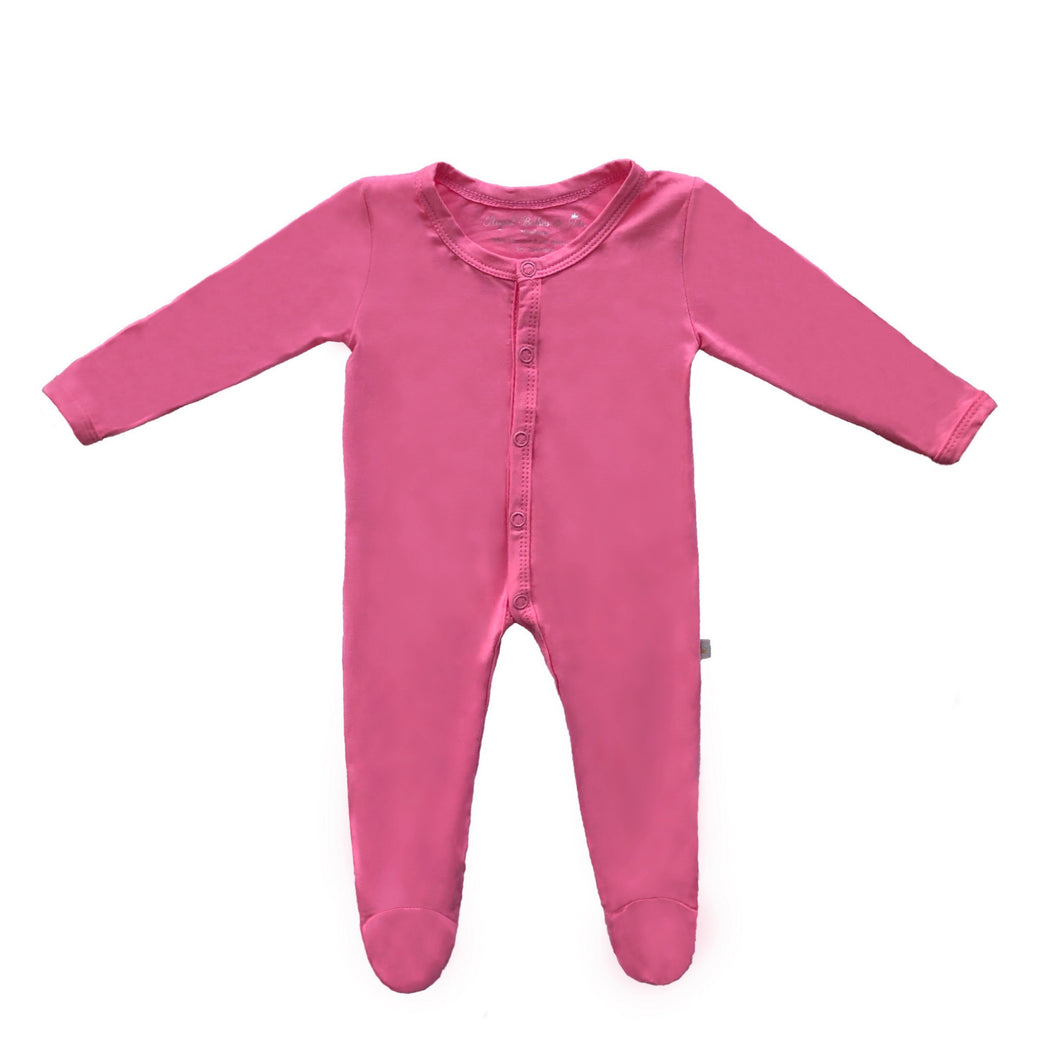 Bamboo Solid Footed Snap Onesie in Bubble Gum