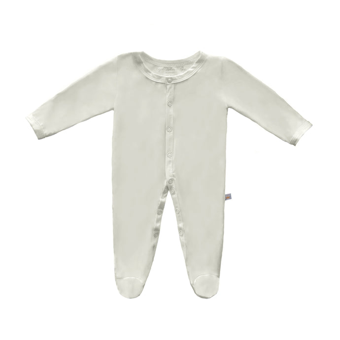 Bamboo Solid Footed Snap Onesie in Creme