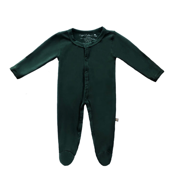 Bamboo Solid Footed Snap Onesie in Forest Green