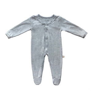 Bamboo Solid Footed Snap Onesie in Heather Gray