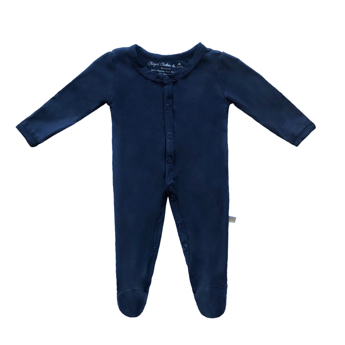 Bamboo Solid Footed Snap Onesie in Navy