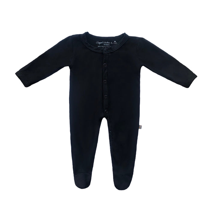 Bamboo Solid Footed Snap Onesie in Nite