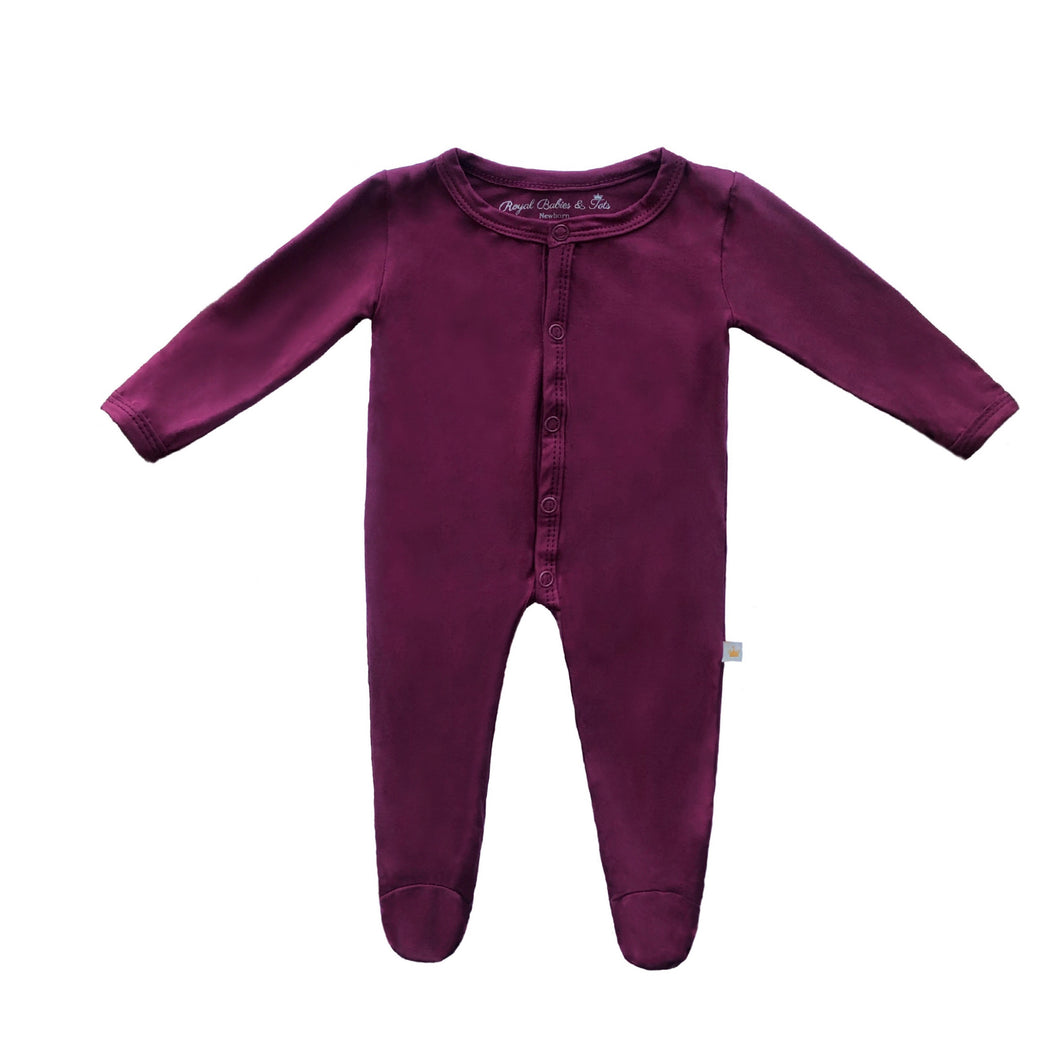 Bamboo Solid Footed Snap Onesie in Plum
