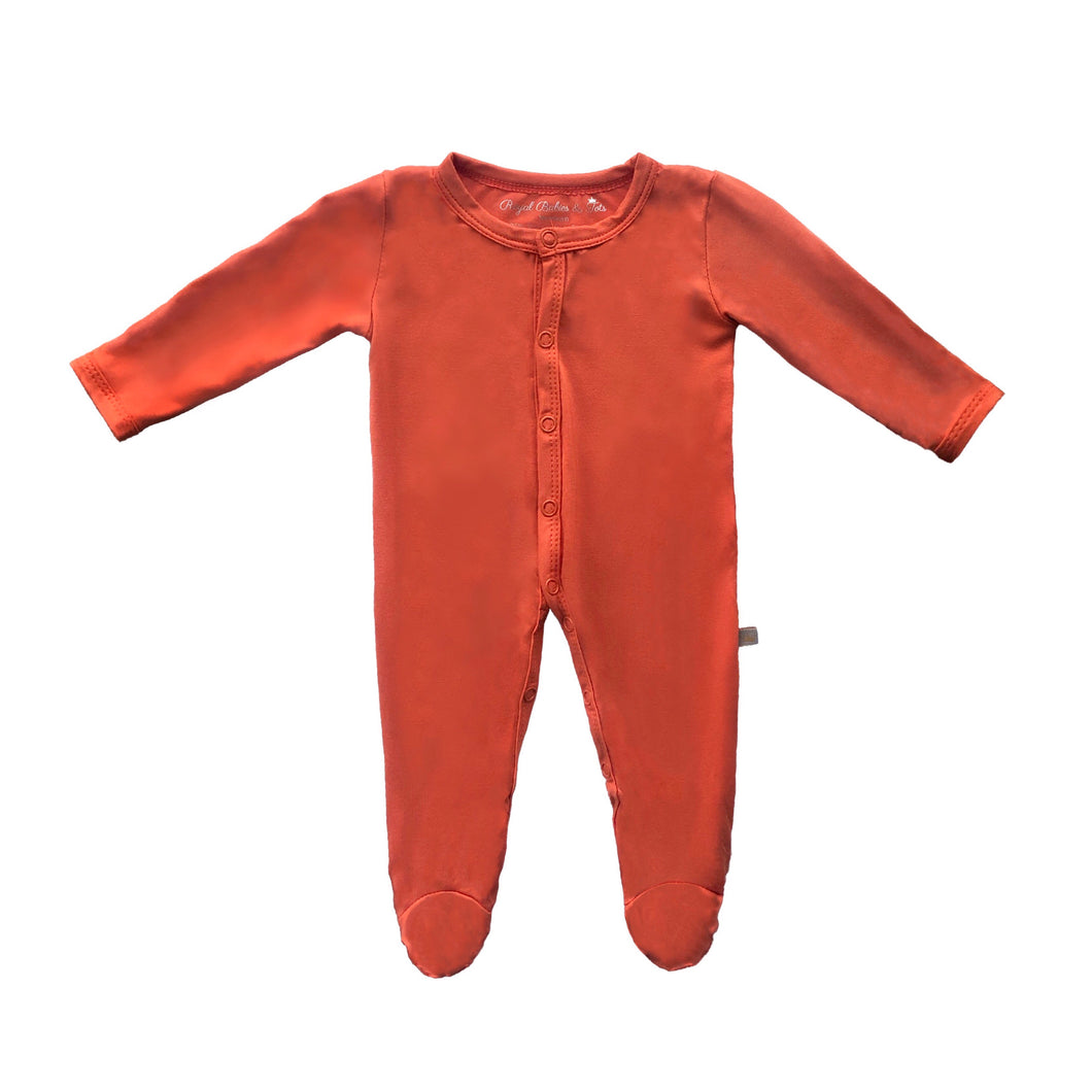 Bamboo Solid Footed Snap Onesie in Pumpkin