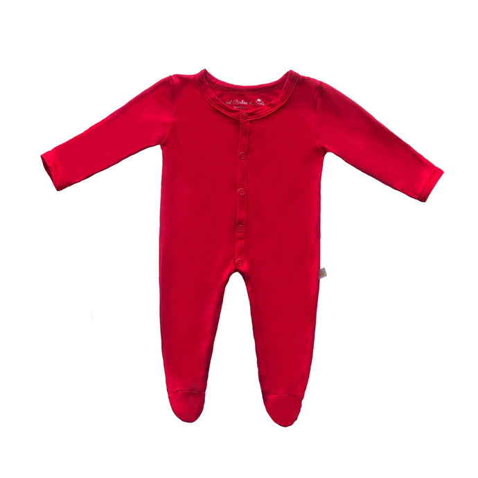 Bamboo Solid Footed Snap Onesie in Wildfire