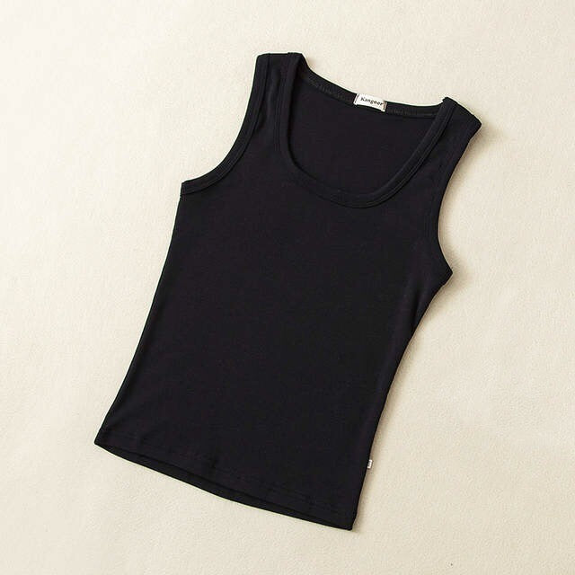 Baby Basic Cotton Crewneck Tank Top in Black