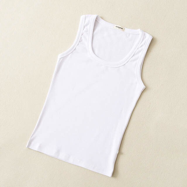Baby Basic Cotton Crewneck Tank Top in White