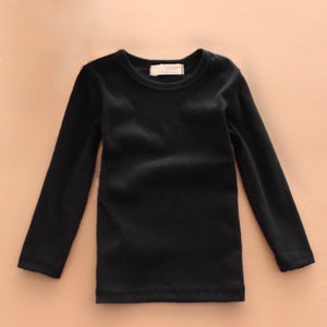 Basic Long Sleeve Crewneck Cotton T-Shirt in Black