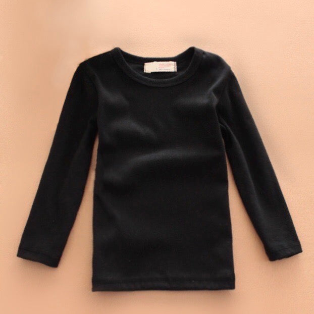Basic Long Sleeve Baby Crewneck Cotton T-Shirt in Black