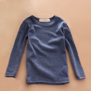 Basic Long Sleeve Crewneck Cotton T-Shirt in Blue