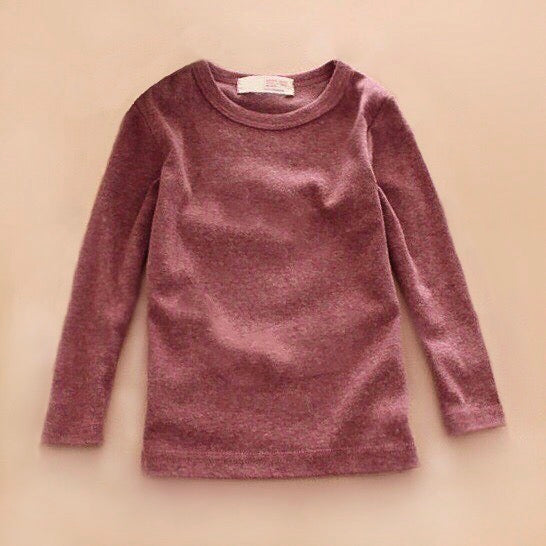 Basic Long Sleeve Crewneck Cotton T-Shirt in Mauve