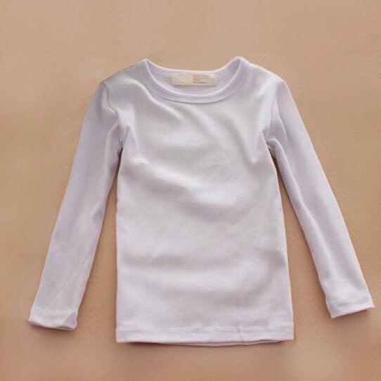 Basic Long Sleeve Crewneck Cotton T-Shirt in White
