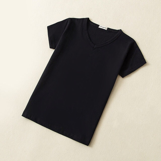 Baby Basic Cotton V-Neck T-Shirt in Black