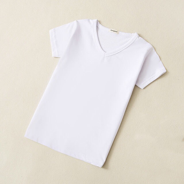 Basic Cotton V-Neck T-Shirt in White