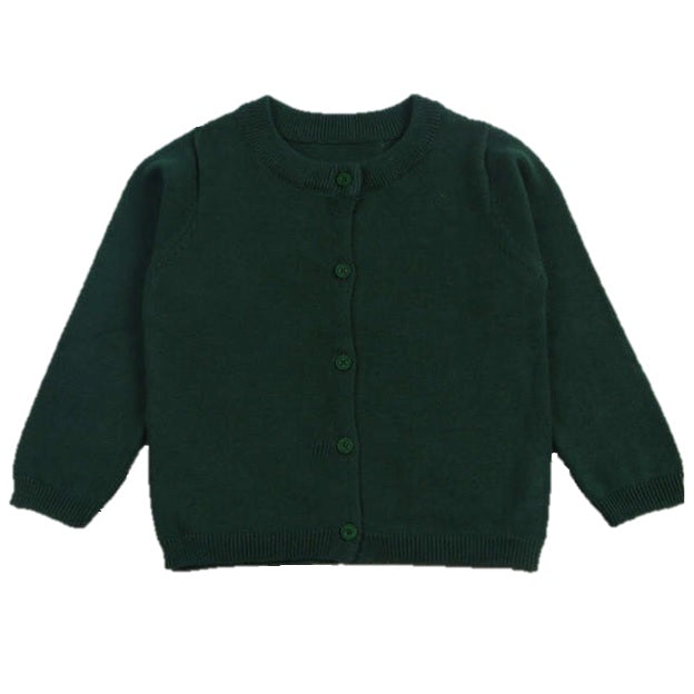 Basic Crewneck Cardigan in Emerald