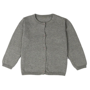 Basic Crewneck Cardigan in Gray