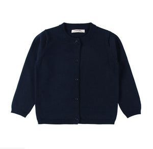 Basic Crewneck Cardigan in Navy