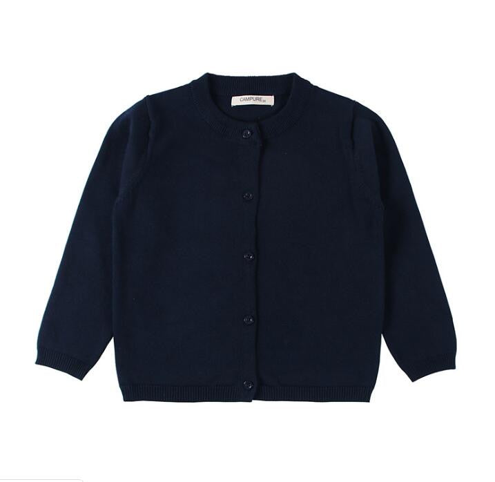 Basic Crewneck Baby Cardigan in Navy